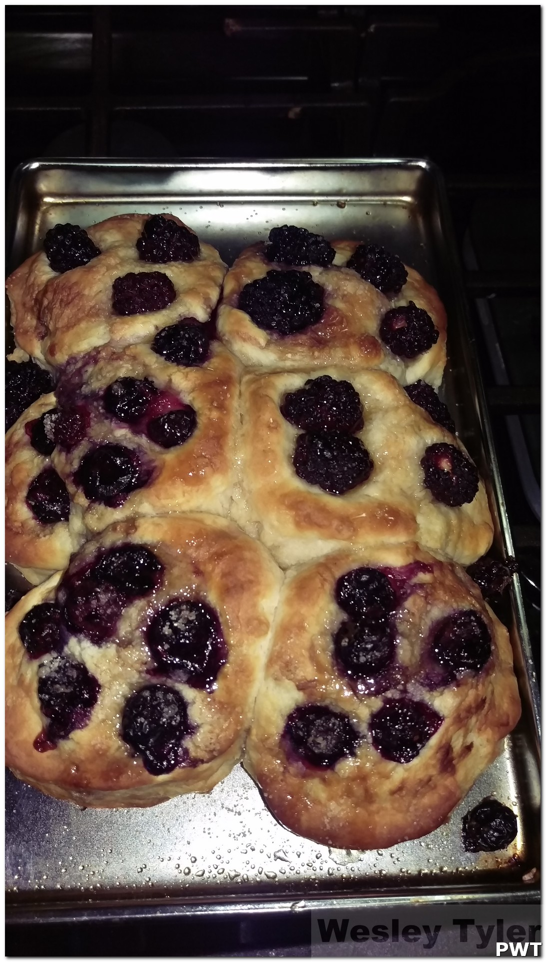 Blackberry, Blueberry scones w maple syrup drizzle ,  and Real Bacon in the Convection gas oven…..its the real shizzle ma nizzle!