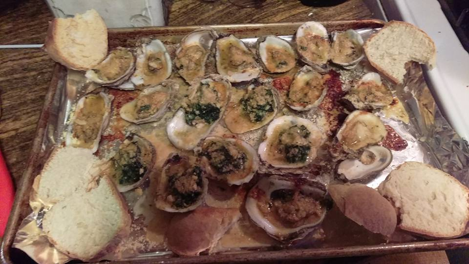 My version of Baked Broiled Grilled Cheesy Buttery Oysters New Orleans Style