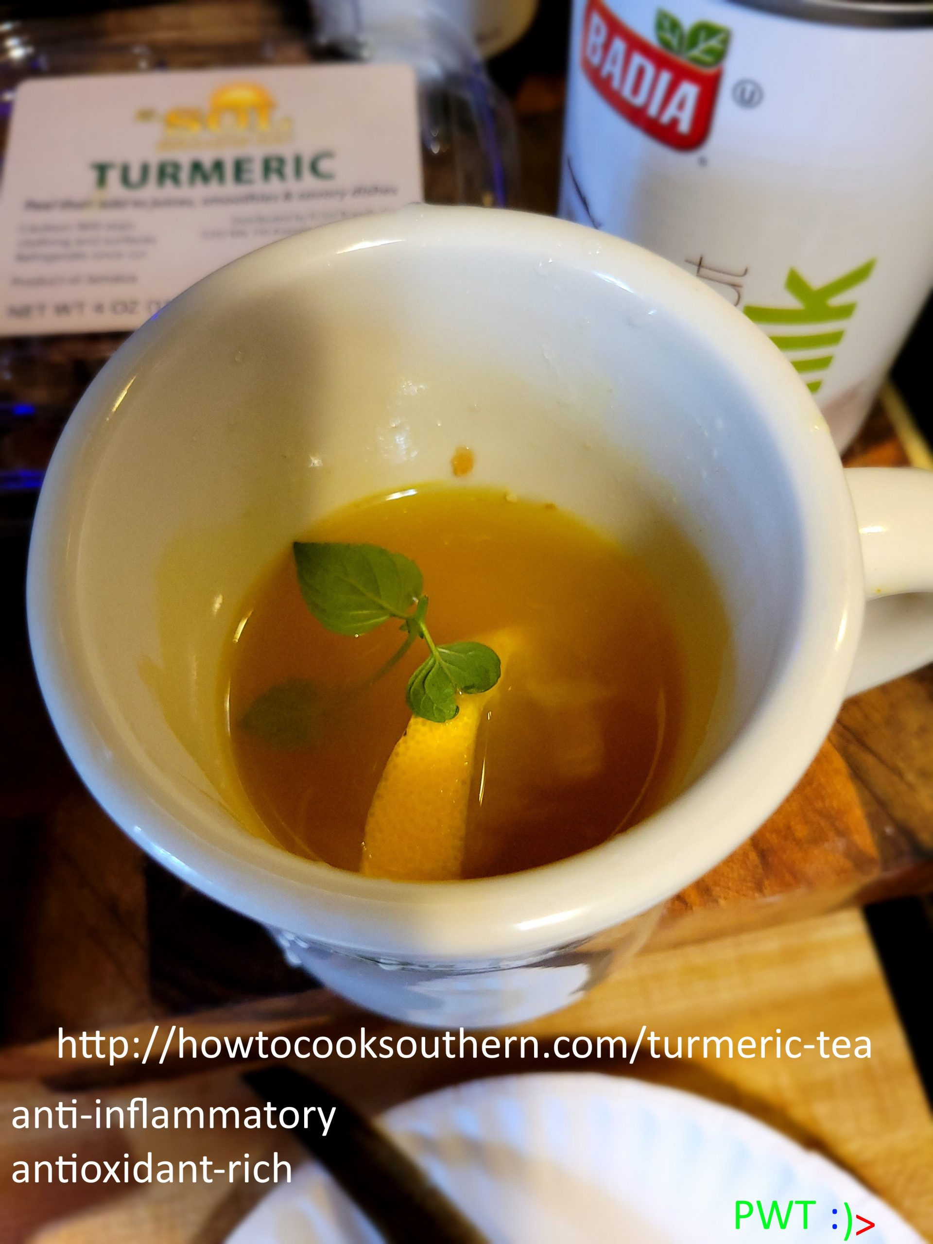Turmeric Tea Most made w Ginger, Mint & Honey, serve w Lemon